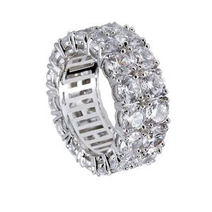 COPY - Men's Silver Bling Ring, 2 rows 5A+ Cubic …